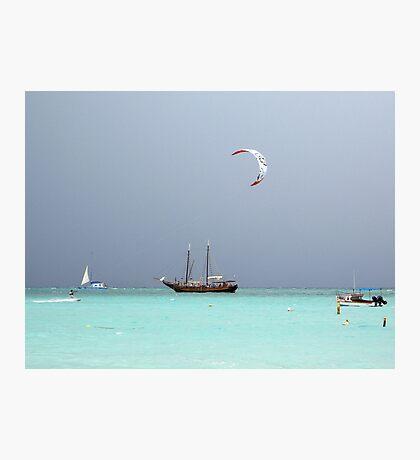 Kite Surfing at Palm Beach  Photographic Print