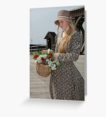 Girl with basket of flowers Greeting Card