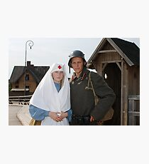 Retro styled picture with nurse and soldier Photographic Print
