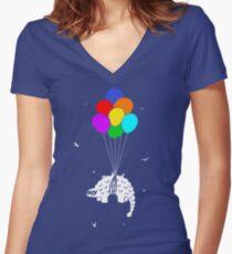 Flying Ankylosaur Women's Fitted V-Neck T-Shirt