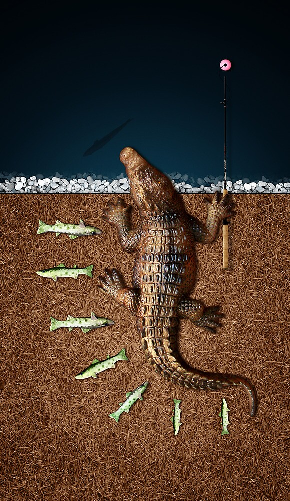 Animal Art - Fishy Crocodile by Michael Murray