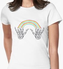 Louis Double Rainbow Hands Women's Fitted T-Shirt