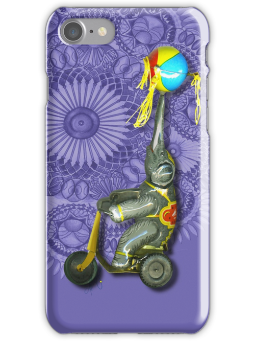 Wind up Toy Elephant on Bicycle, Iphone case, by Alma Lee by Alma Lee