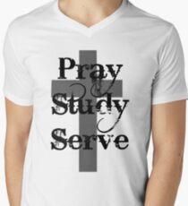 Pray Study Serve Men's V-Neck T-Shirt