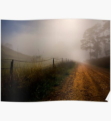 Retreat Valley Road, Gumeracha early morning in Autumn Poster