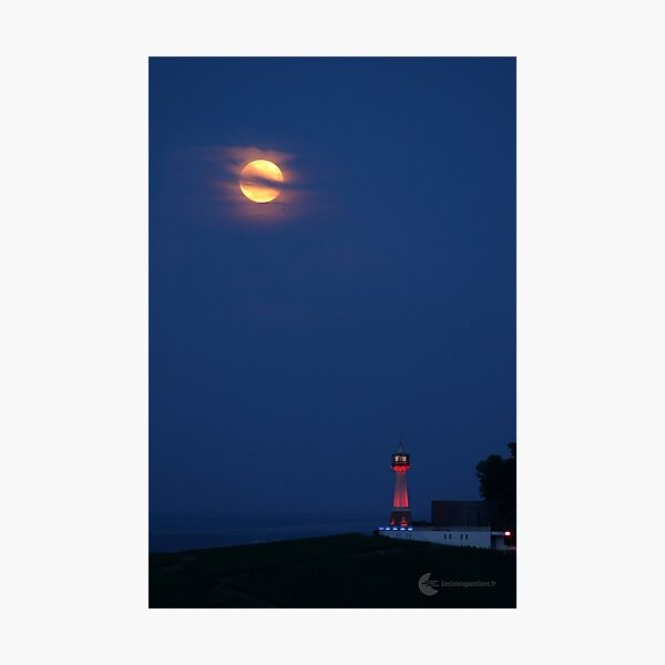 Pleine Lune, phare de Verzenay (France) Impression photo