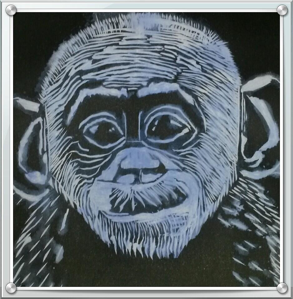 Bonobo Linocut Print by Ruth Kellaway