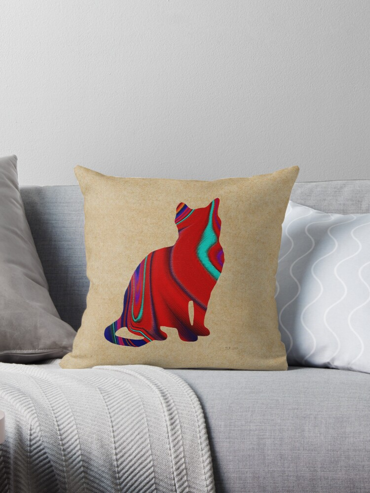 Red Sitting Textured Cat by Bamalam Art and Photography