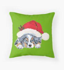 Blue Merle Aussie Christmas Puppy Throw Pillow