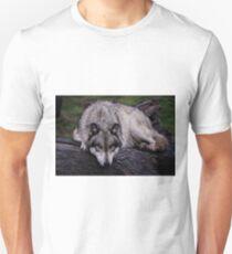 A wolf on a wet log T-Shirt