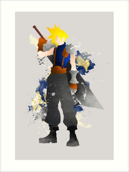 Final Fantasy 7: Cloud Strife Giclee Art Print by paperheroes
