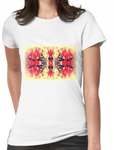 Sturt's Red Desert Pea on Gold Womens Fitted T-Shirt