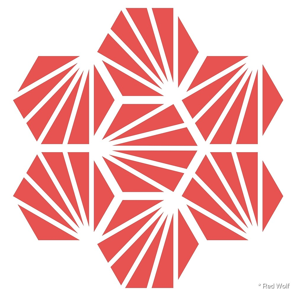 Geometric Pattern: Hexagon Ray: Red White by * Red Wolf
