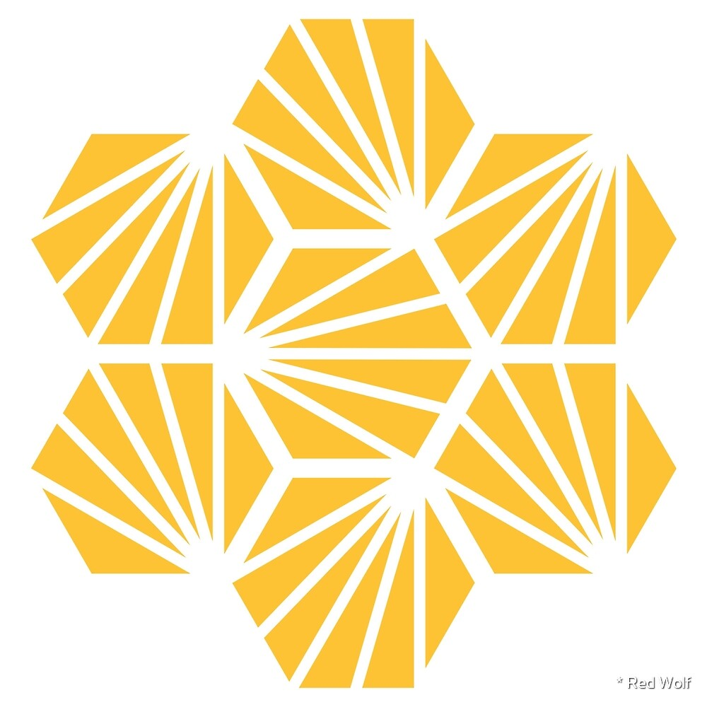 Geometric Pattern: Hexagon Ray: Yellow White by * Red Wolf