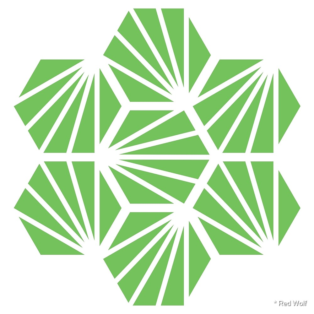 Geometric Pattern: Hexagon Ray: Green White by * Red Wolf