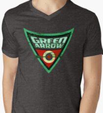 Grünes Pfeil-Logo T-Shirt mit V-Ausschnitt für Männer