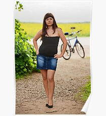 Sexy woman with bicycle Poster