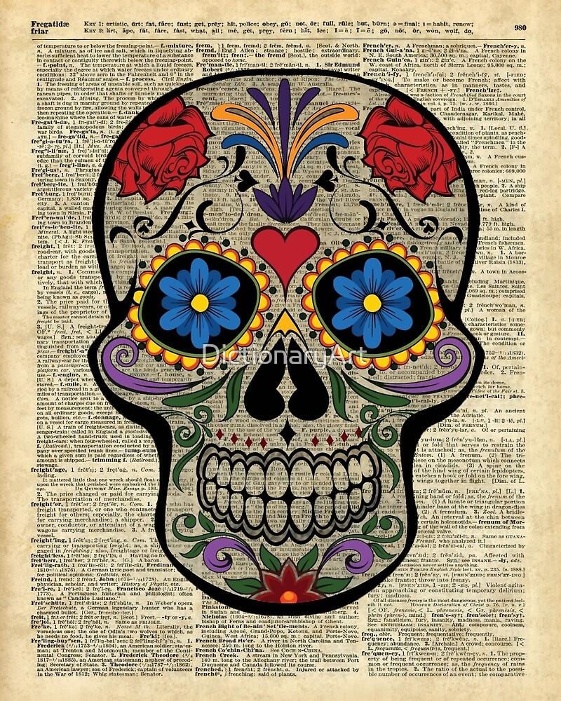 Happy Skull,Sugar Skull,Dia De Los Muertos,Halloween Artwork by DictionaryArt