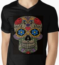 Happy Skull,Sugar Skull,Dia De Los Muertos,Halloween Artwork Mens V-Neck T-Shirt