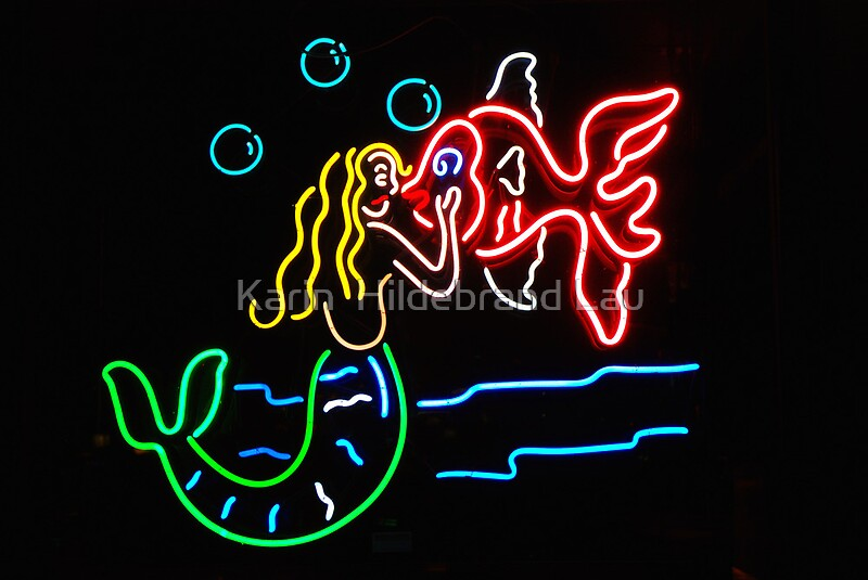 Mermaid and fish neon sign framed prints by karin for Fish neon sign