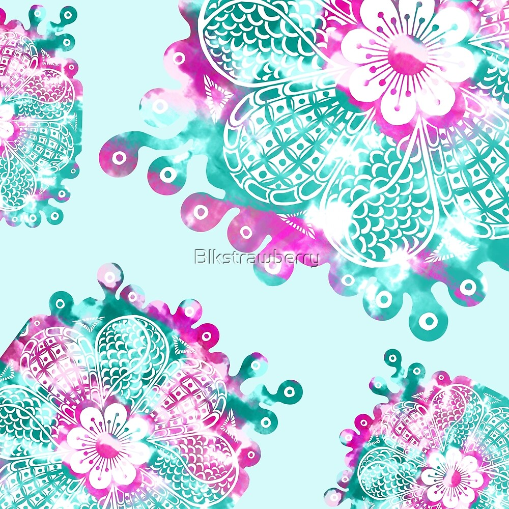 Floral Tangle Drawing on Mint and Pink Paint by Blkstrawberry
