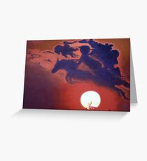 """""""Sunset Steeplechase"""" Greeting Card"""