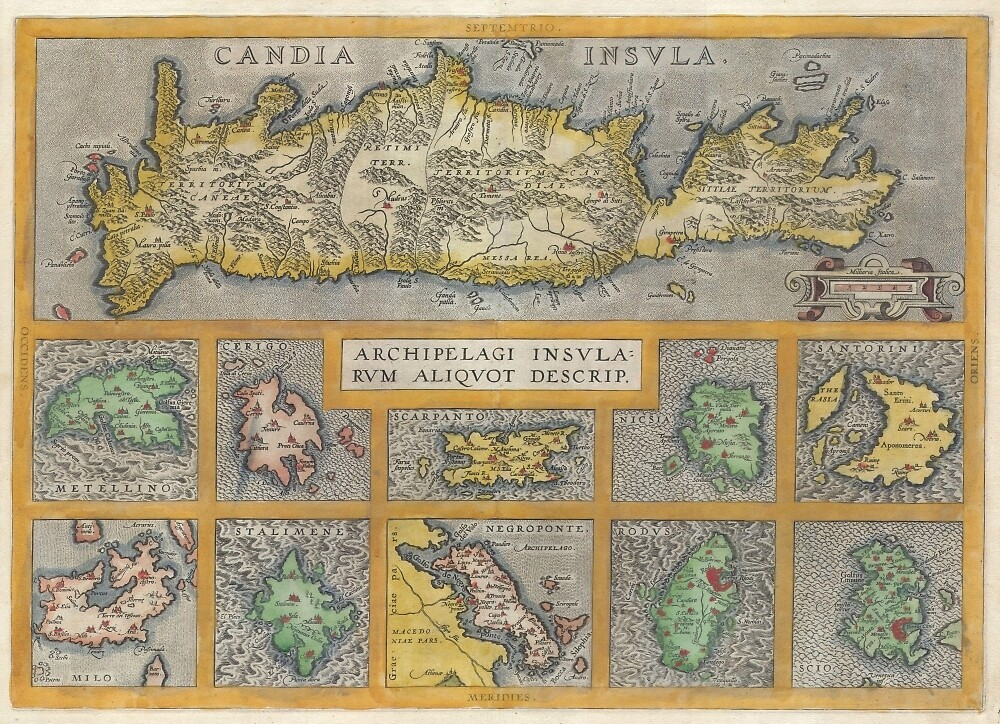 Vintage Map of The Islands of Greece (1584) by BravuraMedia