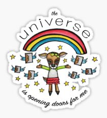 The Universe is Opening Doors for Me: Cute Deer Watercolor Illustration Sticker