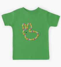 Colorful Jigsaw Whimsical Baby Bunny Kids Tee