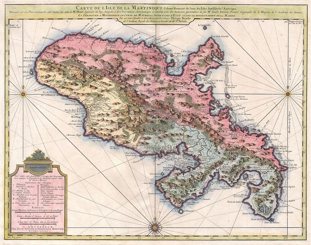Vintage Map of Martinique Island (1742) by BravuraMedia