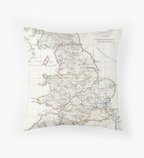 Vintage Map of England (1794) Throw Pillow