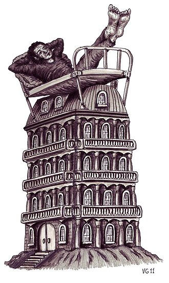 Dreamer on the roof surreal black and white pen ink drawing by Vitaliy Gonikman