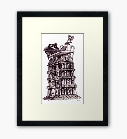 Dreamer on the roof surreal black and white pen ink drawing Framed Print