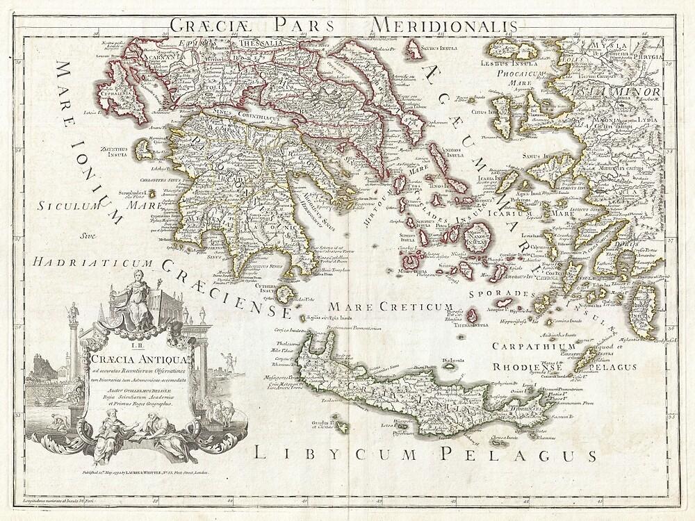 Vintage Map of Southern Greece (1794) by BravuraMedia