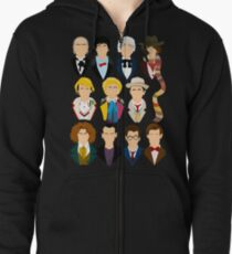 The Eleven Doctors  Zipped Hoodie