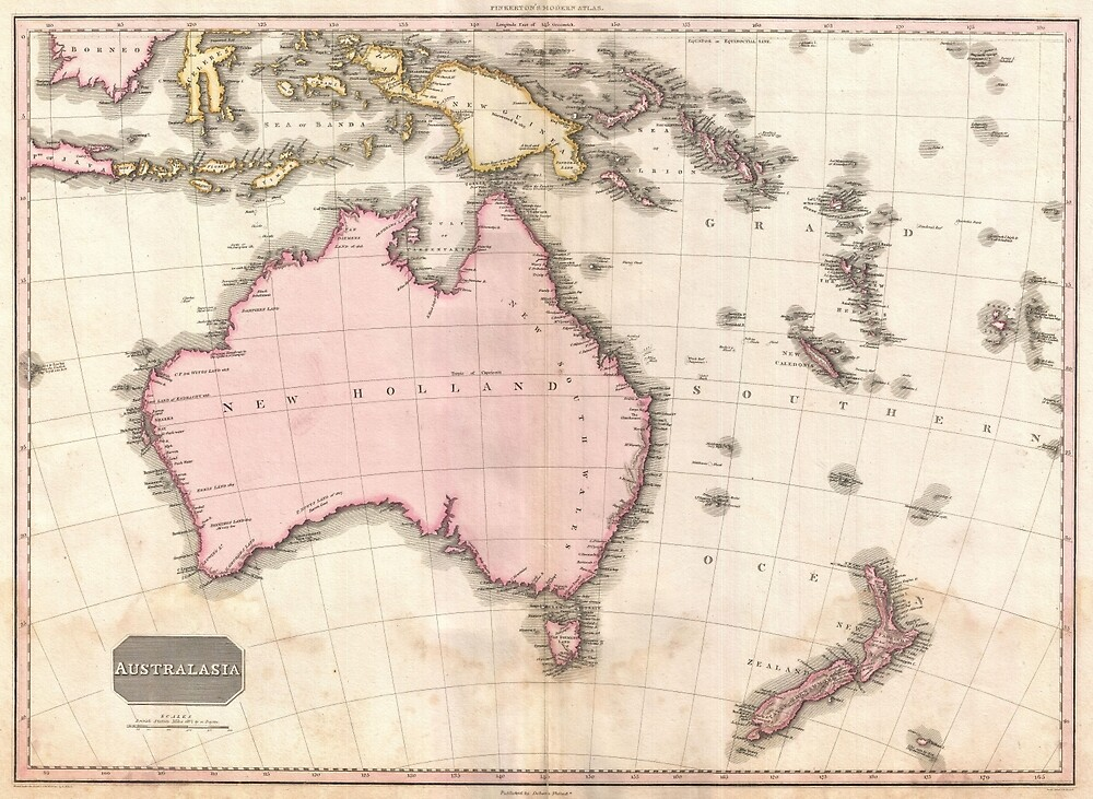 Vintage Map of Australia (1818) by BravuraMedia