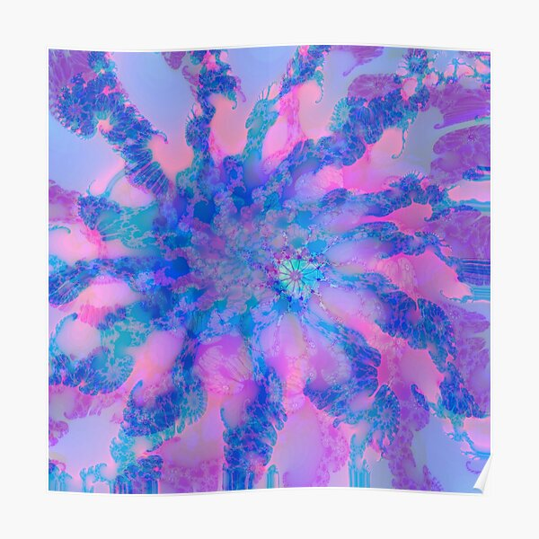 Fractalize storm clouds of flower petals Poster