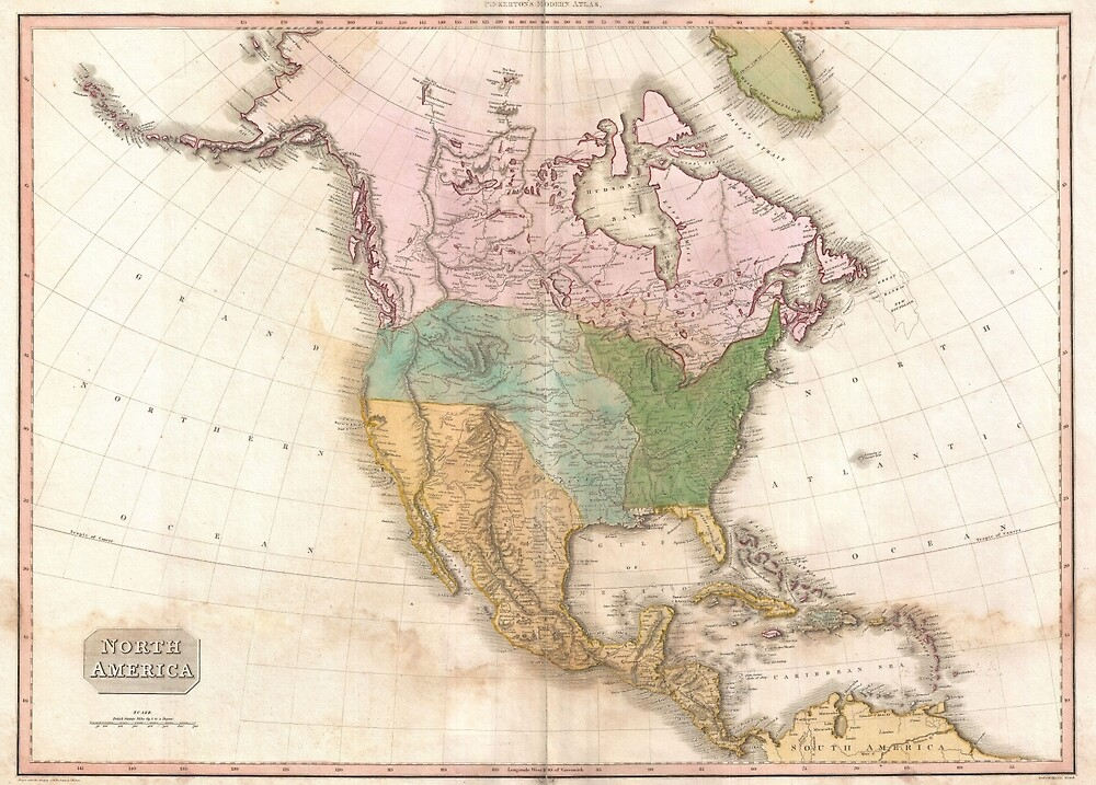 Vintage Map of North America (1818) by BravuraMedia