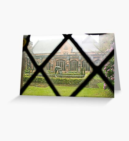 Looking Through a Cloister Window to the Centre Garden Greeting Card