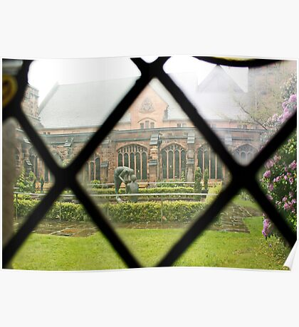 Looking Through a Cloister Window to the Centre Garden Poster