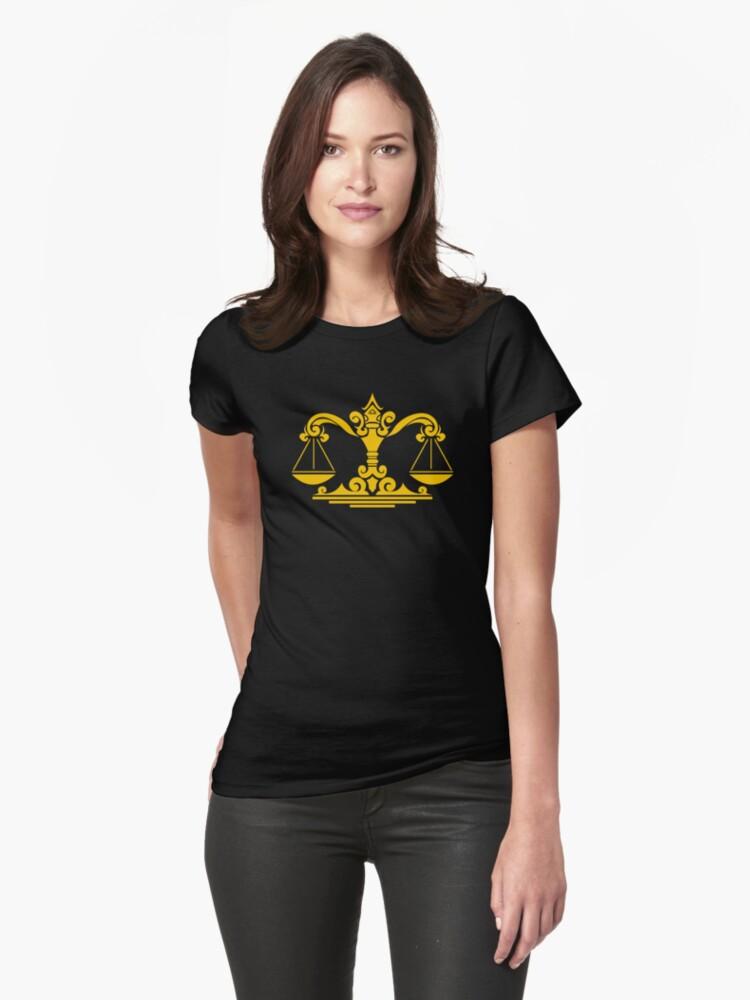 Zodiac Sign Libra Gold Womens T-Shirt Front