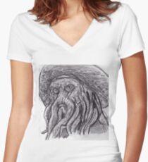Davy Jones sketch Women's Fitted V-Neck T-Shirt