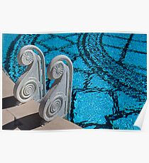 Outdoor Pool Steps, Hearst Castle, California Poster