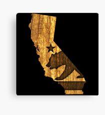 California State Bear (wood design) Canvas Print