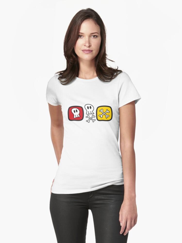 Cartoon Skulls and Bones Womens T-Shirt Front