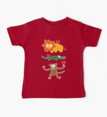 Cartoon Lion, Alligator & Chimpanzee Trio Baby Tee