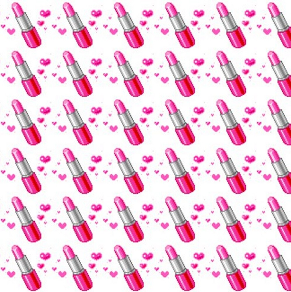 Pink & White Lipstick Love Pattern by HavenDesign