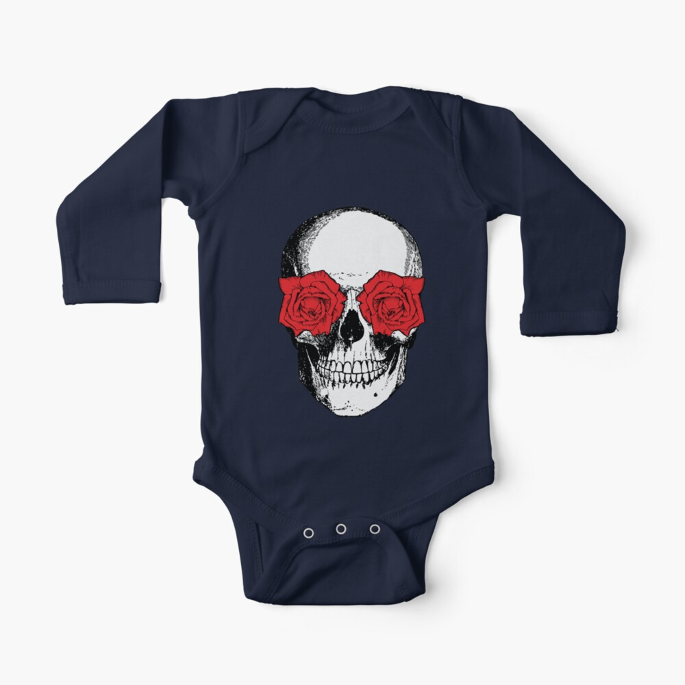 Skull and Roses | Skull and Flowers | Skulls and Skeletons | Vintage Skulls | Grey and Red |  Long Sleeve Baby One-Piece