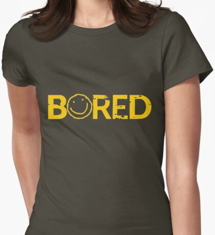 Sherlock Bored Smiley Print Womens Fitted T-Shirt