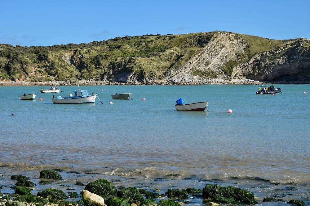 Boats in Lulworth Cove, Dorset, UK by Luke Farmer